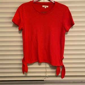 Madewell red top with ties, size small